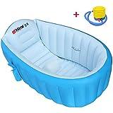 WCUI Infantiles inflado bañera portátil más gruesa doblar bañera inflada bañera barriles portátil plástico bañera de lavabo Seleccionar ( Color : Azul )