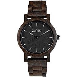 ZARTHOLZ Herren Damen Holz-Armbanduhr Holzuhr Klassik 40mm aus schwarzem Sandelholz Holzarmband Schwarz Silber ZH007