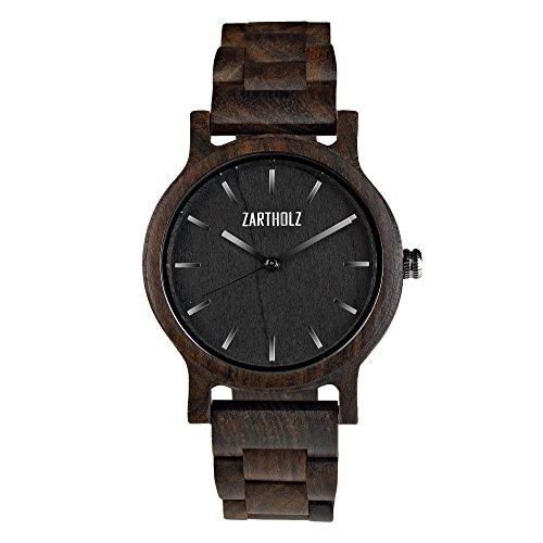 ZARTHOLZ Herren Damen Unisex Holzuhr Holz-Armbanduhr Klassik (Sandelholz Schwarz)