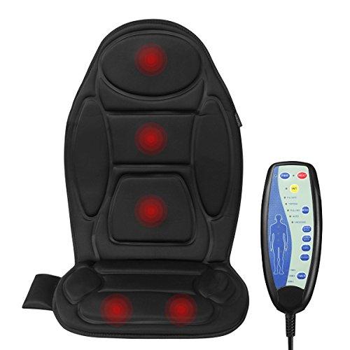 Vanvene Massage Sitzkissen mit Heizung und Timer für Rückenmassage Massage Kissen für Autositz Bürostuhl und zuhause Entspannung für den Rücken