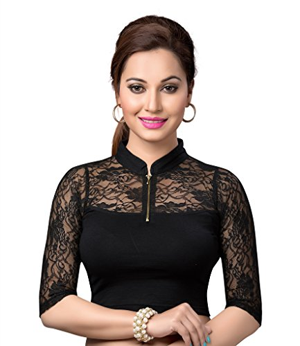 Ishin Lycra Black Collor Neck Women's Blouse