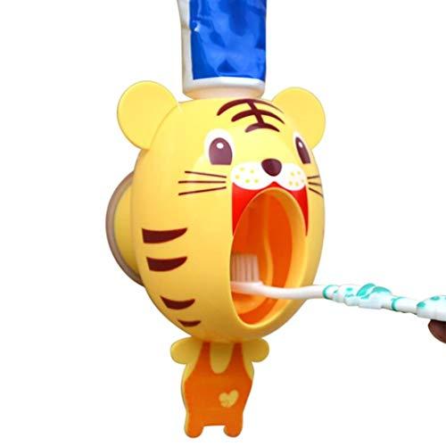 Cisixin Automatisches Baby-Zahnbürste-Spender, Hände frei Zahnpasta-Spender Kinder Karikatur-nettes Tier-Zahnpasta-Squeezer (Tiger)
