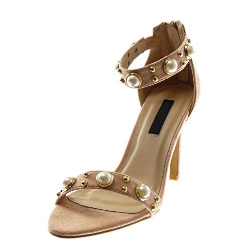 Angkorly Scarpe Moda Sandali Scarpe Decollete con Cinturino Alla Caviglia Stiletto Donna Borchiati Perla D'Oro Tacco Stiletto Alto 10 cm Rosa chiaro