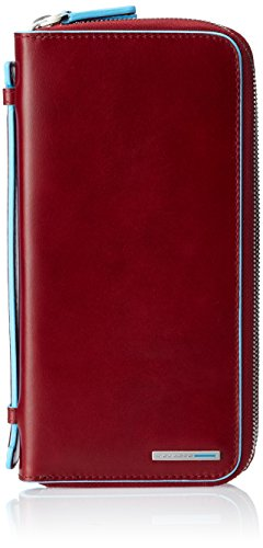 Piquadro Portadocumenti Collezione Blue Square Portafoglio da viaggio, Pelle, Rosso, 21 cm