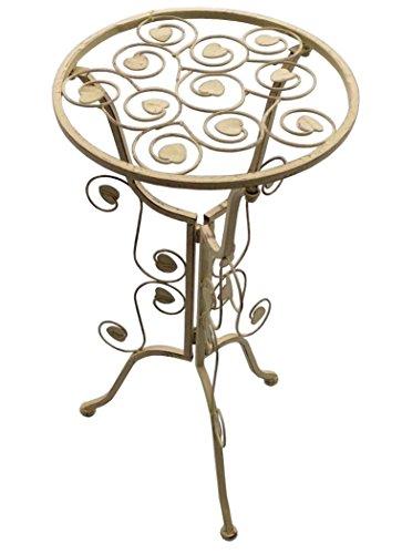 Metall Beistelltisch Tisch P-9510 im Shabby-Look in Antik-Weiß Creme