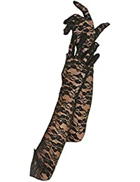 OULII De Novia de encaje largo guantes guantes de vestido de novia para la decoración de fiesta de boda (negro)