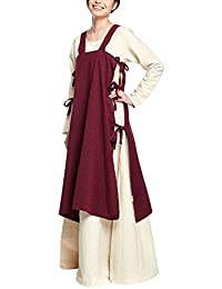 Elbenwald Mittelalter Damen Überkleid Hildegard ärmellos mit Seitlichen Schnürungen Baumwolle