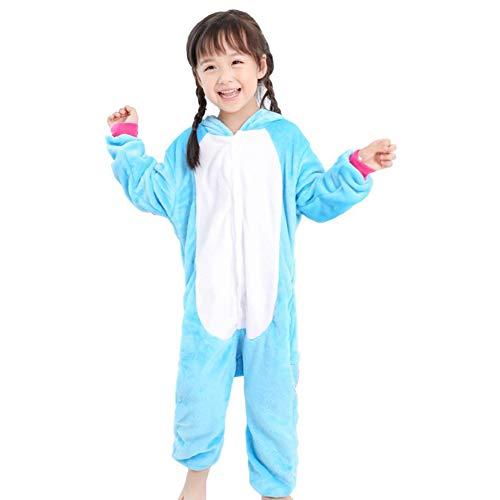 Kinder Einhorn Tier Dino Kostüme Flanell Pyjama Schlafanzug Mädchen Jungen Winter Nachtwäsche Tieroutfit Cosplay Jumpsuit (Einhorn Blau, Körpergröße 125-134cm (Größe 115))