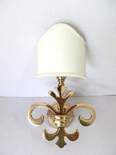 Applique Giglio Fiorentino in ottone lucido ad una luce con ventola pergamena