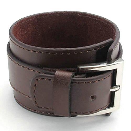 Adisaer Leder Armband Herren Breit Kette Gürtelschnalle Armreifen Schwarz Einstellbar Kette Für Männer Lange 22.86CM Armbänder (Muster Kostüme Griechische)