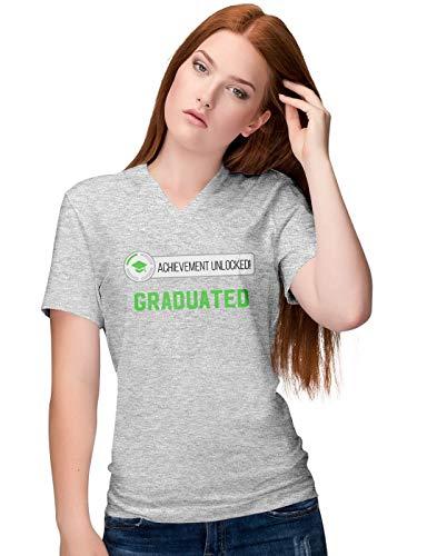 Achievement Unlocked Graduated Pregnancy Damen V-Neck T-Shirt M