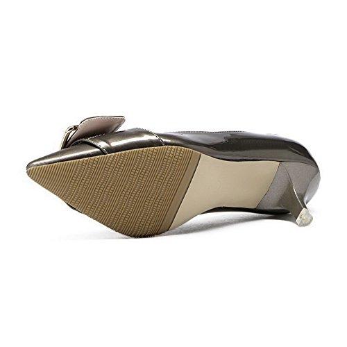 AalarDom Femme Pointu Tire Couleur Unie Stylet Chaussures Légeres Argent-5CM