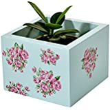 Handcrafted Wooden Decorative Multi Utility Storage Planter Box With Roses - The Weavers Nest