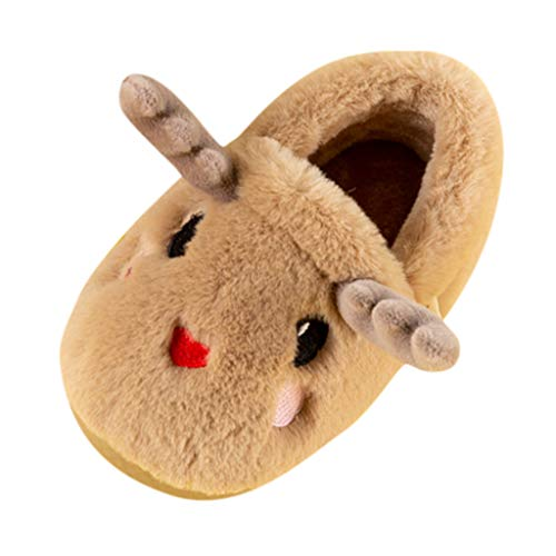 BoyYang Weihnachten Süßes Kitz Kinder Hausschuhe Plüsch Kinderschuhe Baumwolle Pantoffeln Warme Weiche rutschfeste Sohle für Kleinkinder Niedliche Hüttenschuhe für Mädchen und Jungen(34.5 EU,Kaffee