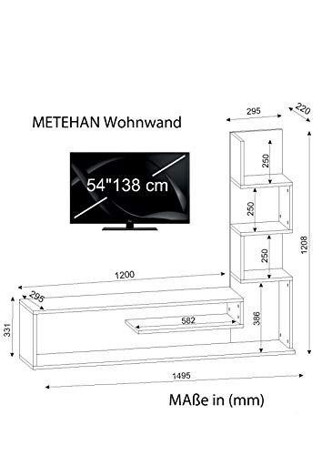 Wohnwand Anbauwand Wohnwandkombi TV Medienwand Lowboard METEHAN in Weiß-Cordoba 1711 - 4
