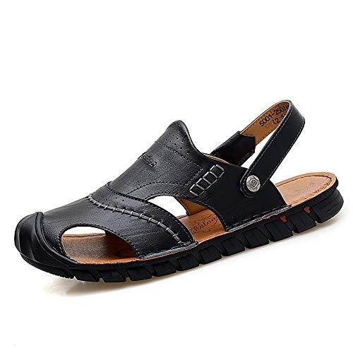 Apragaz Sommer Sport Sandalen Für Männer Mode Lässig Slipper Slip On Stil OX Leder Anti-kollision Toe Dual Zweck Reine Farben Schuhe (Color : Schwarz, Größe : 38 EU) -