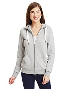 adidas Damen Kapuzenjacke L.A. Slim Winterized, Medium Grey Heather, 32, AB2412