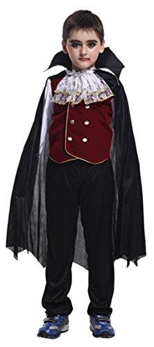 Cloud Kids Kinder Jungen Vampir Kostüm Dracula Costüme Halloween Cosplay für 4-12 Jahre Größe M (Dracula Kostüm Für Jungen)