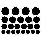 plot4u Wandtattoo Kreise Creativ-Set 23 Teile Punkte in 5 Größen und 25 Farben (32x22cm schwarz)
