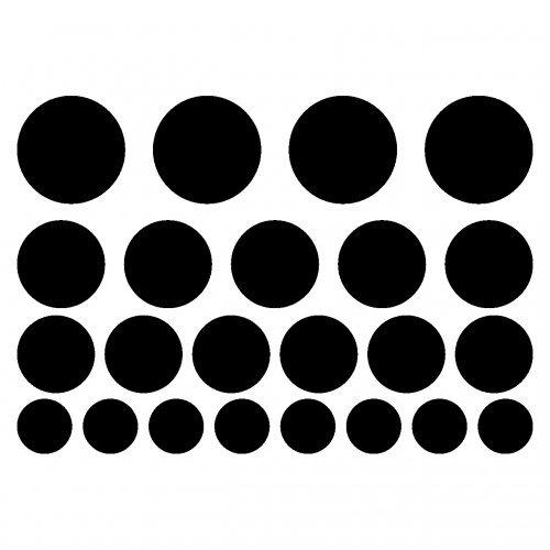 Aufkleber Kreise Creativ-Set 23 Teile Autoaufkleber Punkte in 5 Größen und 25 Farben (75x50cm schwarz) (Ist Kreis Der 50)