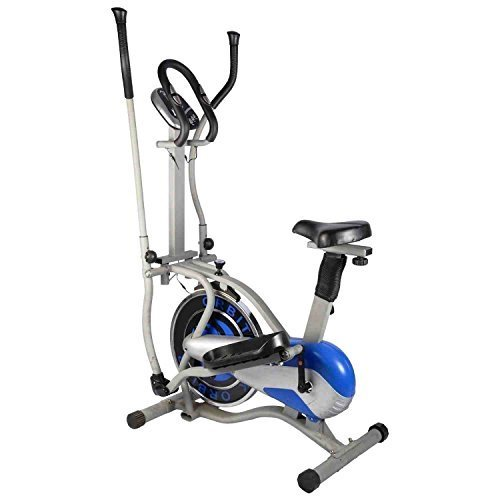 LEEWAY Exercise Bike; Multi Orbitrac Elliptical Steel Wheel; Orbitrack Dual Action / Hand Pulse Orbitrek, With Seat and Pulse Stand - (Silver & Blue)  available at amazon for Rs.14989
