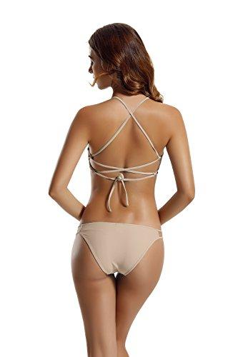 Zeraca Damen Strappy Pantie Kreuz Criss Dreieck Bikini Badeanzug Dawn