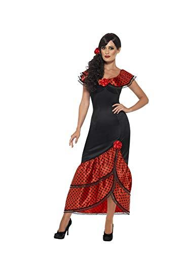 Flamenco Damen Kostüm - Smiffys 45514S - Damen Flamenco Kostüm, Kleid und Haarschmuck, Größe: 36-38, schwarz