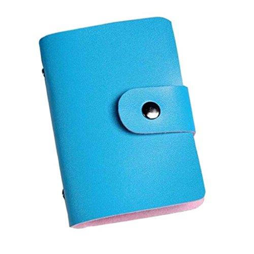 Karten-Satz,WINWINTOM Leder Kreditkarteninhaber -Kasten-Kartenhalter-Mappen-Visitenkarte Himmelblau