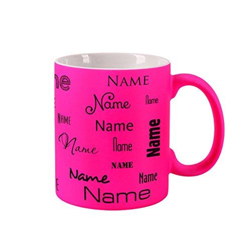 Herz & Heim Neon Tasse mit Namen - Farbe Pink - Aufdruck des Namens in verschiedenen Schriftarten