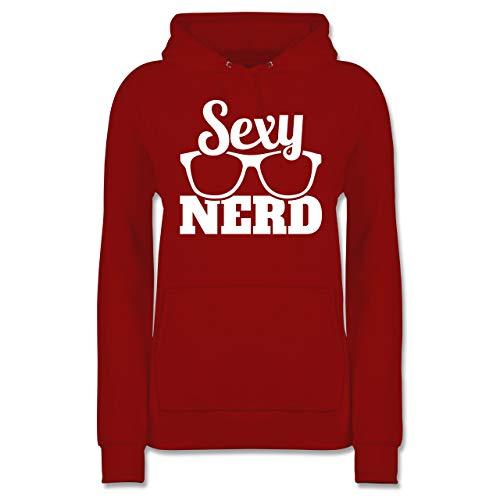 Shirtracer Nerds & Geeks - Sexy Nerd - weiß - XXL - Rot - JH001F - Damen Hoodie