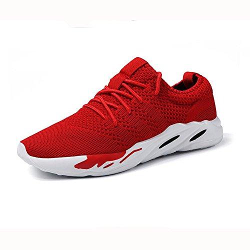 YIXINY Schuhe Gezeiten Männer Turnschuhe Atmungsaktiv Laufschuhe Ausbildung Wandern Schnürsenkel ( Farbe : Rot , größe : EU39/UK6/CN39 )