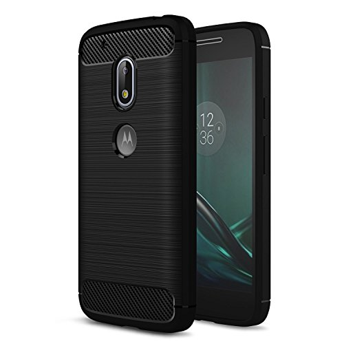Moto G4 Play hülle, Landee Rugged Armor Resilient Shock Absorption and Carbon Fiber Design Protective hülle for Lenovo Moto G4 Play (Black)