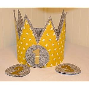 Geburtstagskrone Der Wollprinz Krone, Kinder Geburtstag Kinderkrone-Krone Geburtstagskrone, Stoffkrone Gelb/Gold mit austauschbaren Zahlen