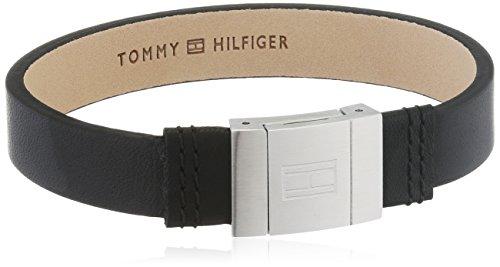 Imagen de tommy hilfiger 2700950  pulsera de acero inoxidable y piel para hombre, 21,5 cm