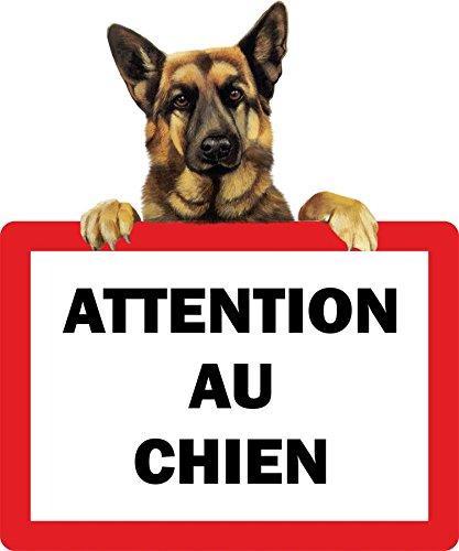Preisvergleich Produktbild Aufkleber für Tür, Aufschrift: Attention au chien (Achtung vor dem Hund), Motiv: Deutscher Schäferhund, selbstklebend