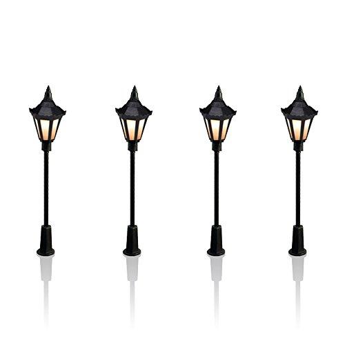 10 Stück Plastik Park Hof Laternen Straßen Lampe Modellbau Hexagonal Einzel Kopf LED Leuchten Lampen Pfosten Modell Straßenbeleuchtung 3V DC Warm weiß Led-leuchten Für Modelle