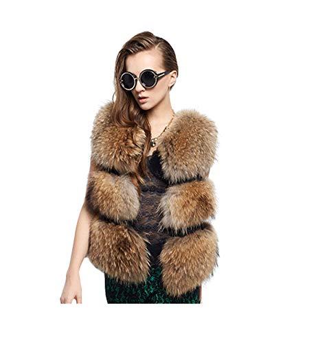 Chengyang donna pelliccia sintetica invernale cappotto senza maniche giacca giubbino parka gilet (marrone, s)