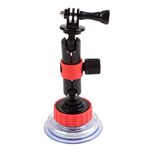 Ledmomo Merveille Caméra d'action support à ventouse pour Gopro Hero Session et d'autres caméras d'action (Noir et rouge)