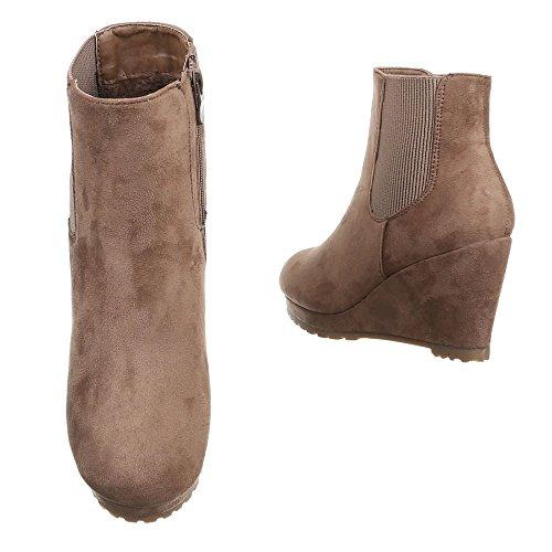 Damen Boots Schuhe Wedges Keil Stiefeletten Schwarz Grau Braun 36 37 38 39 40 41 Hellbraun