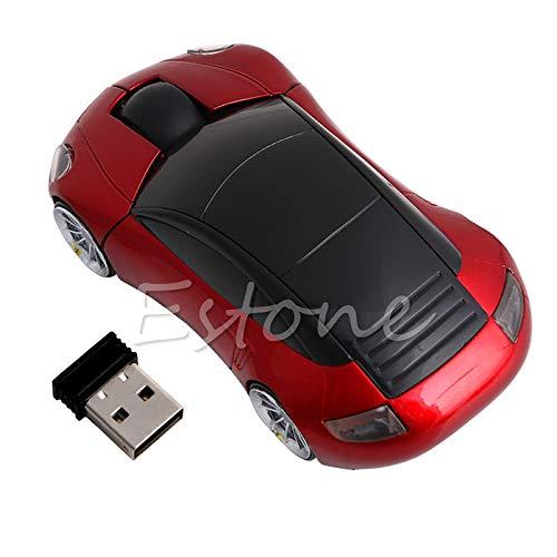 Exing Funkmaus 2.4G 1600DPI Optische Maus in Autoform mit USB-Empfänger rot