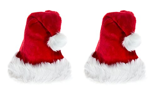 Ciffre Weihnachtsmütze Nikolaus Mütze Weihnachtsmützen Xmas Mützen Nikolausmütze 2 er Set - Plüsch Rot (Kinder 3-7 Jahre) 2 Stück im Set