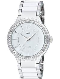 MC Timetrend Damen-Armbanduhr mit Kristallsteinen, Metallband mit weißen Lackeinlagen, Analog Quarz 50239