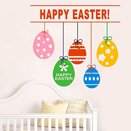Yzybz Happy Easter Rabbit Vinyl Aufkleber Kunst Wandaufkleber Diy Home Room Decor 2019 Ostertag Baby Zimmer Bunte Eier Wandaufkleber (2019 Happy Halloween Zitate)