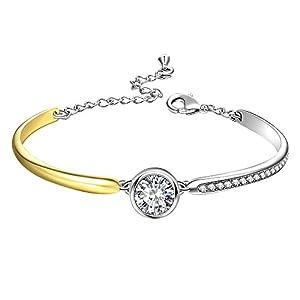 Angelady Damen Klassisch Armband in Silber und Gold, Elegant Armreif Silber Frauen Armband-Valentinstag Muttertag Geburtstag Geschenkk für Frauen Madchen Mutter Freundin