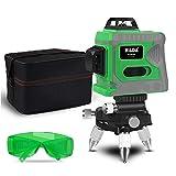 Yaoaomitn Laser di allineamento autolivellante Laser Verde Laser Livello Orizzontale e Verticale Laser a Linee Incrociate con Base Girevole a 360 Gradi Verde e Grigio EU