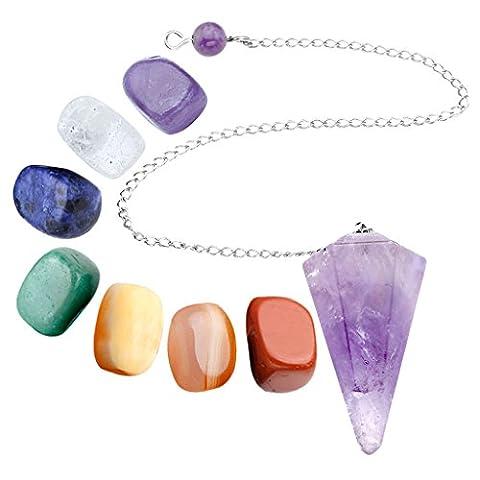 JSDDE 7 Chakra Healing Crystal Tumbled Palm Stones And Natural Amethyst Dowsing Pendulum Reiki Balance Meditation Jewelry Sets(Faceted