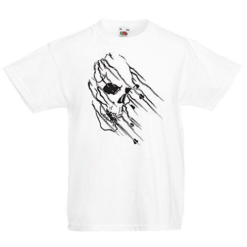 en/Mädchen T-Shirt Art Skull - Vintage t Shirts (9-11 Years Weiß Mehrfarben) ()