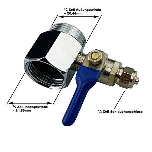 AS3. Absperrventil + Adapter + Teflonband. Absperrhahn Kugelhahnventil für 1/4 Zoll(6mm) Schlauch.