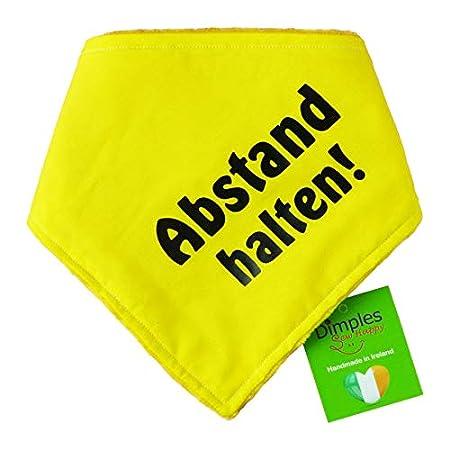 Dimples Hundehalstuch Gelb – Abstand Halten – Bitte Hund Nicht anfassen -Warn Halstuch für kleine mittlere und Grosse…