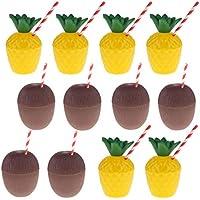 D DOLITY 12 Piezas Copas en Forma de Piña Tazas en Forma de Coco de Plástica